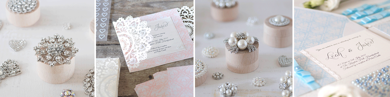 DIY wedding stationery supplies.  Make your own wedding invitations with crystal and pearl embellishments, decorative paper, blank laser cut invitations and stationery, self adhesive crystal stickers etc.