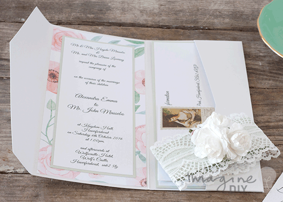 Floral wedding invitation to make yourself. DIY pocket fold wedding ...