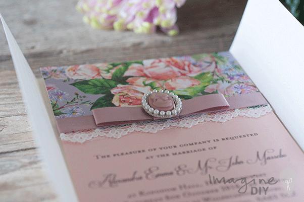 Diy wedding invitation for vintage style wedding floral invitation