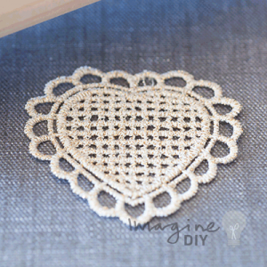 Heart Gold Lace Panel, pretty heart shaped lace panel. DIY wedding stationery and craft supplies