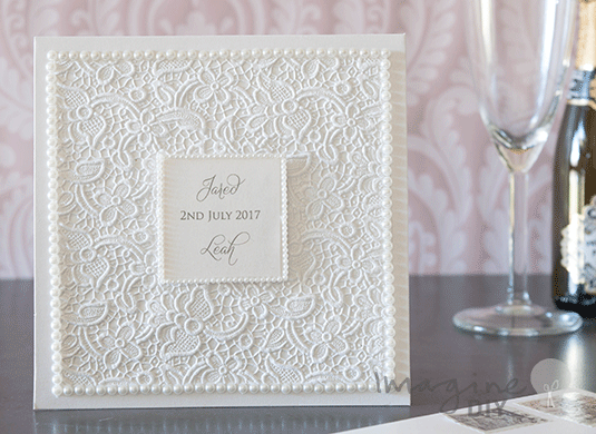 How to Make Lace Embossed Pocket Invitation with Pearls – Embossed Pocket Wedding Invitations
