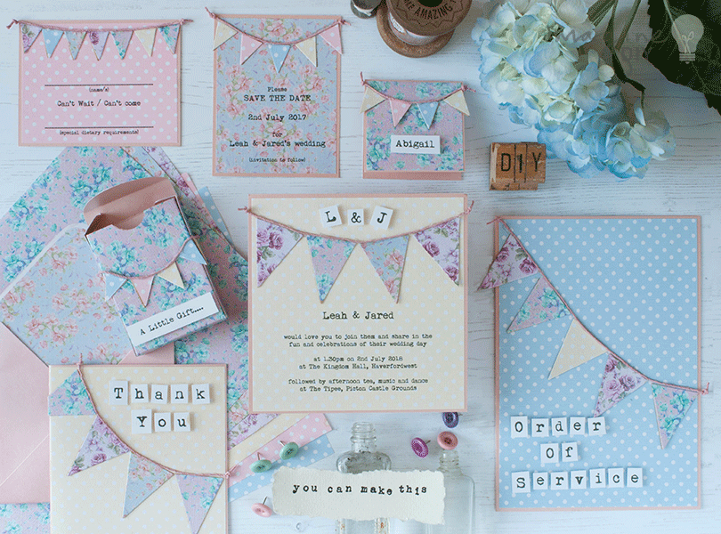 Wedding garden party Floral card bunting set to easily make yourself