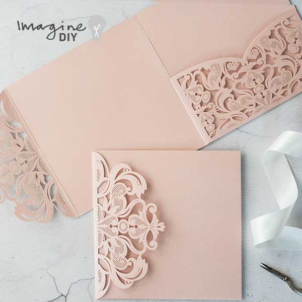 Jaipur Pocket Fold Laser Cut Wedding Invitation In Blush Pink