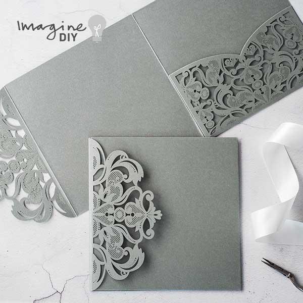 e5a6b7dc0f19c grey pocketfold laser cut invitation. Laser cut invitation with pocket. Pocket  invitation. Laser