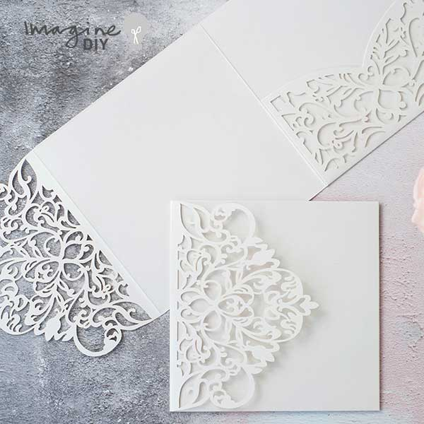 Wisteria Laser Cut Pocketfold Wedding Invitation In White