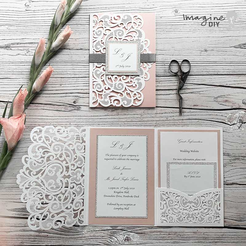 Amelie Laser Cut Invitation Kit In Blush Pink Silver And White Pack Of 10 From 3 15 Per Invitation Imagine Diy